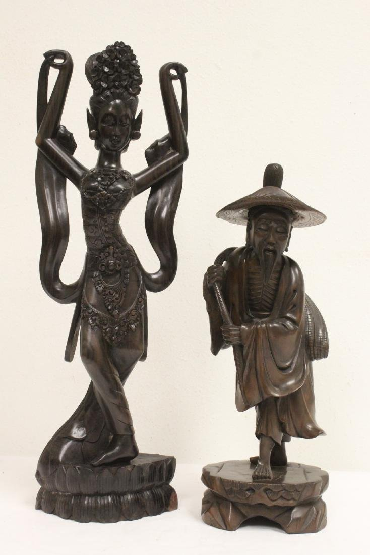 Chinese rosewood carving, and wood carved dancer