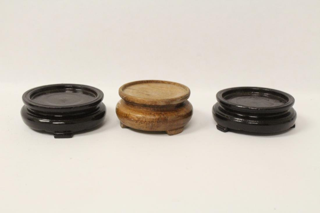 6 Chinese stone rings w/ stand in zitan wood tray - 10