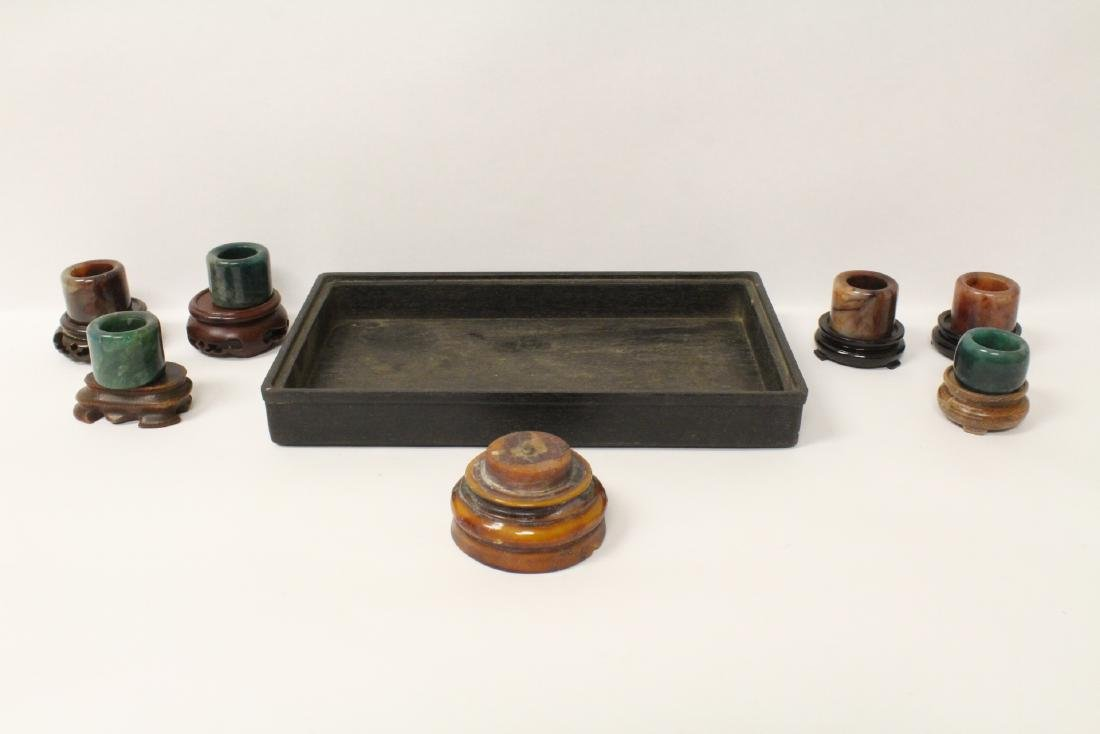 6 Chinese stone rings w/ stand in zitan wood tray