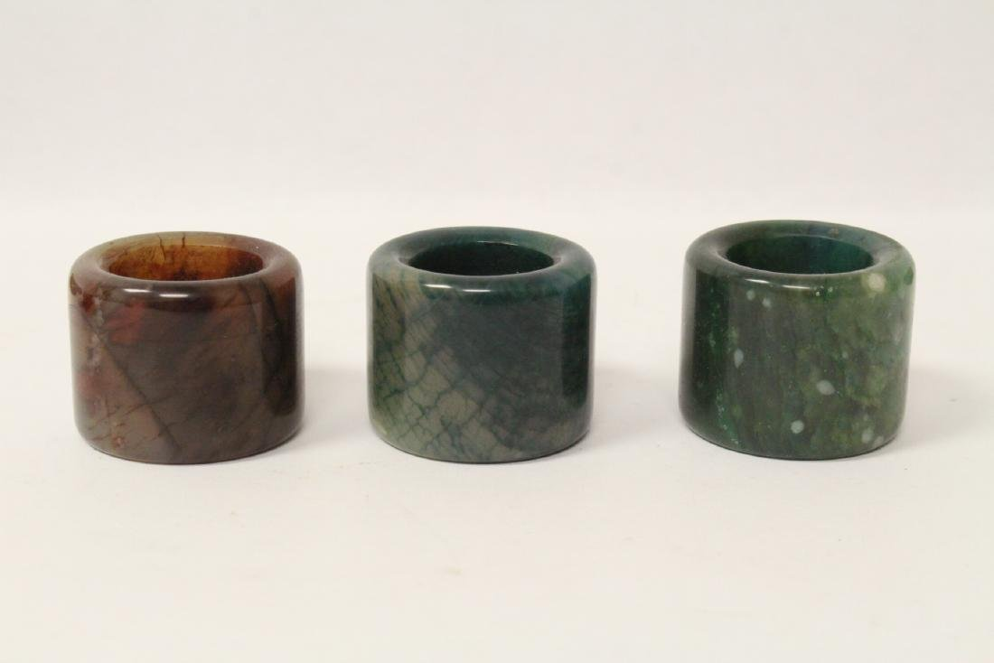 6 Chinese stone rings w/ stand in zitan wood tray - 3
