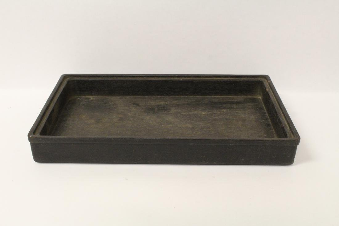 6 Chinese stone rings w/ stand in zitan wood tray - 5