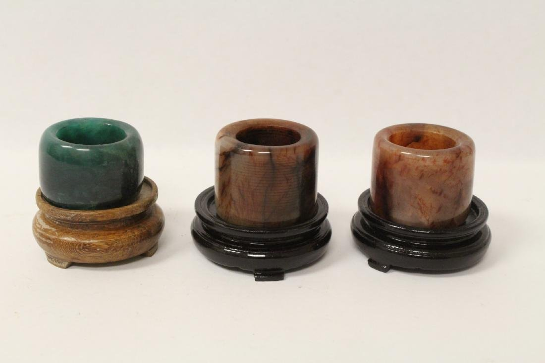 6 Chinese stone rings w/ stand in zitan wood tray - 8