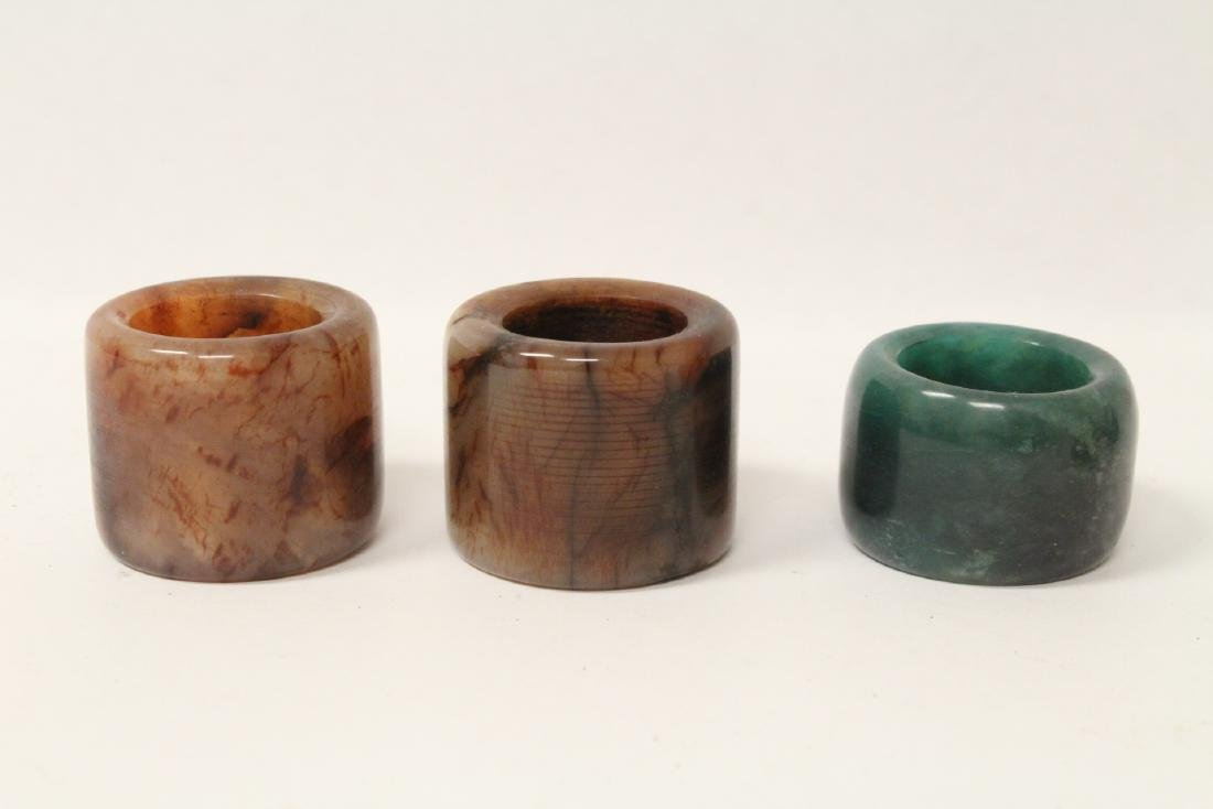 6 Chinese stone rings w/ stand in zitan wood tray - 9