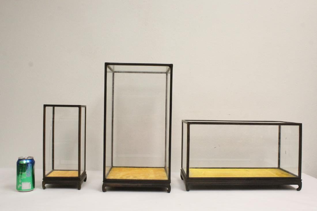 3 Chinese zitan framed display cases