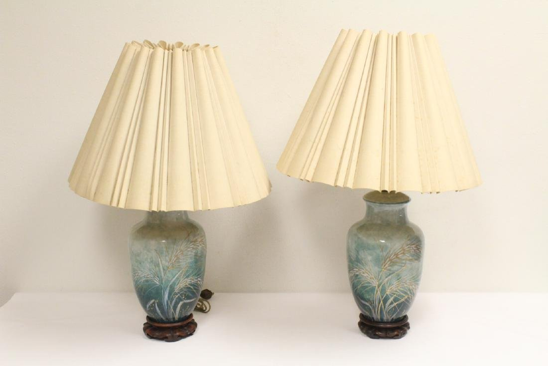 Pair Chinese hand painted porcelain lamps