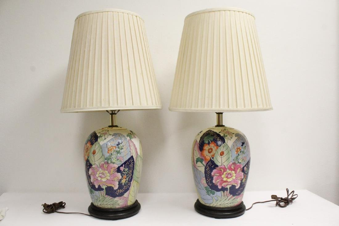 Pair Chinese vintage porcelain jars made as lamps - 10