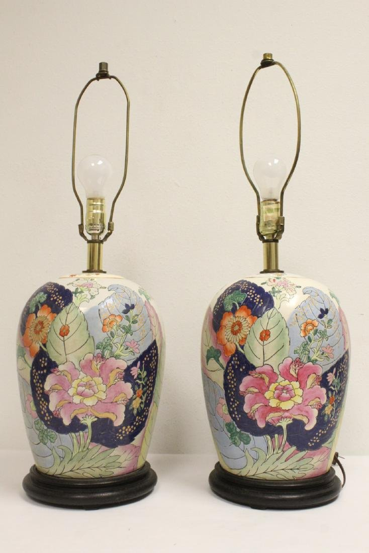 Pair Chinese vintage porcelain jars made as lamps
