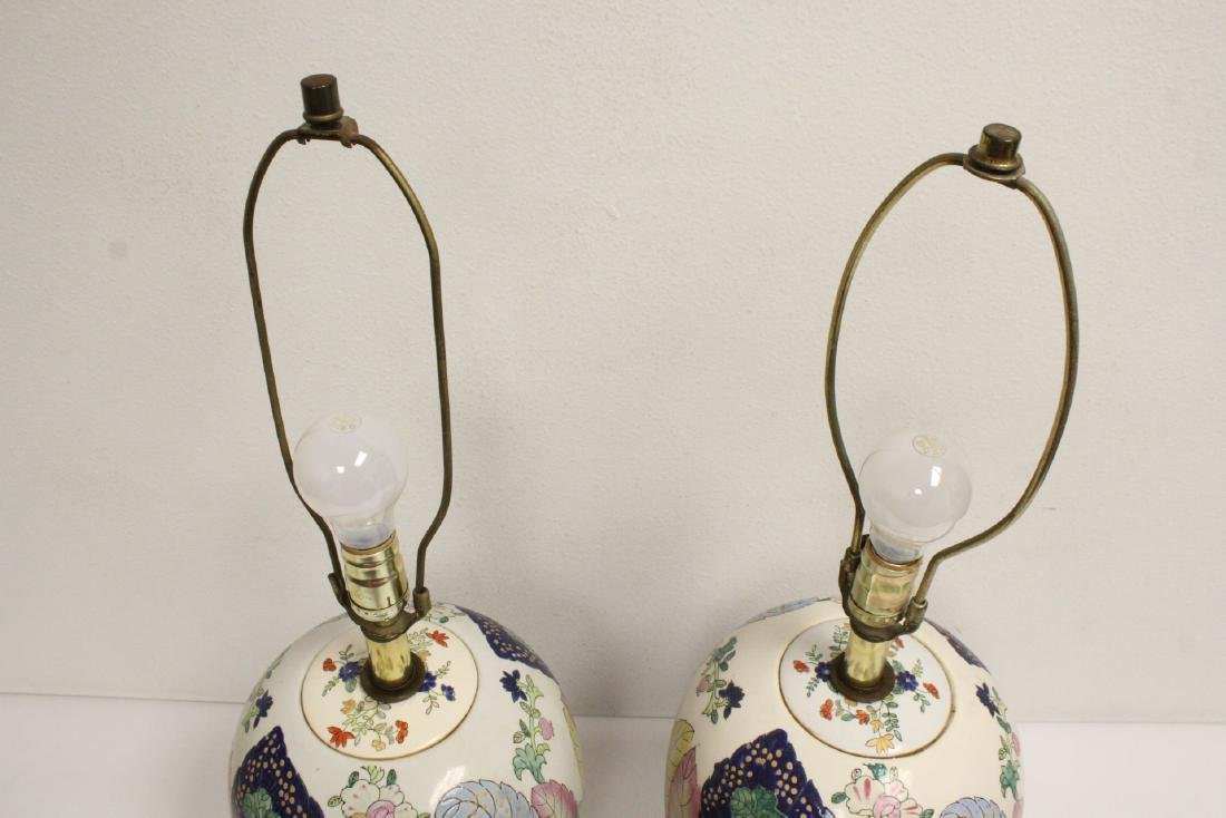 Pair Chinese vintage porcelain jars made as lamps - 2