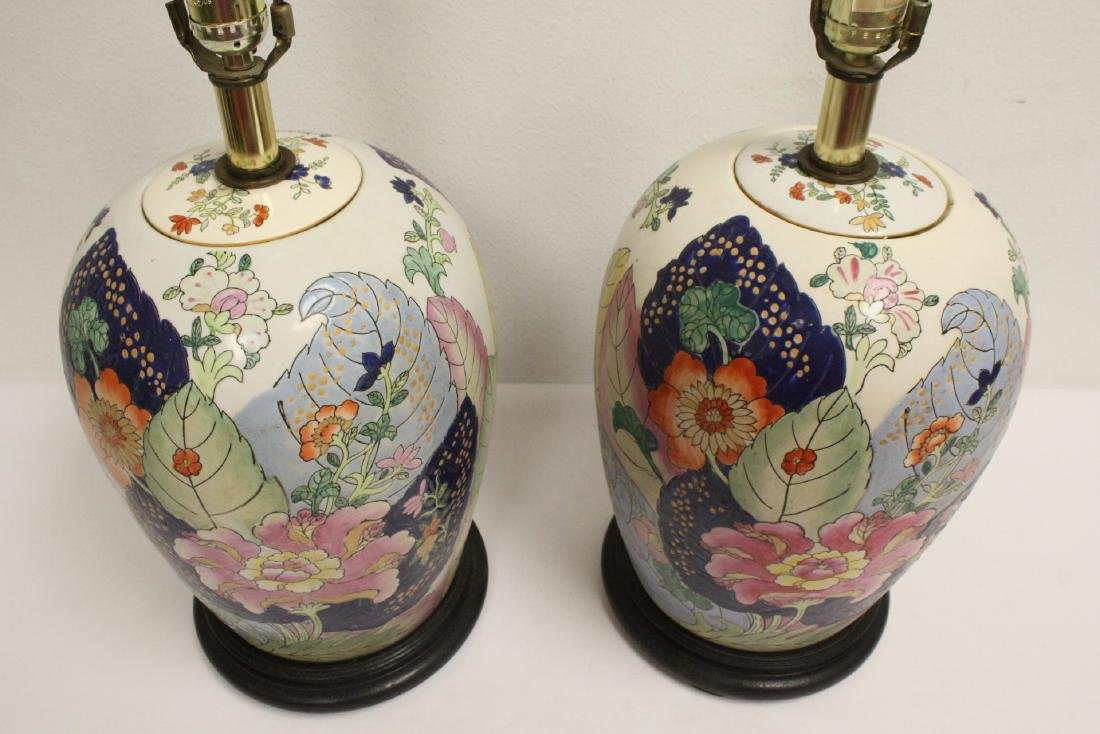 Pair Chinese vintage porcelain jars made as lamps - 3