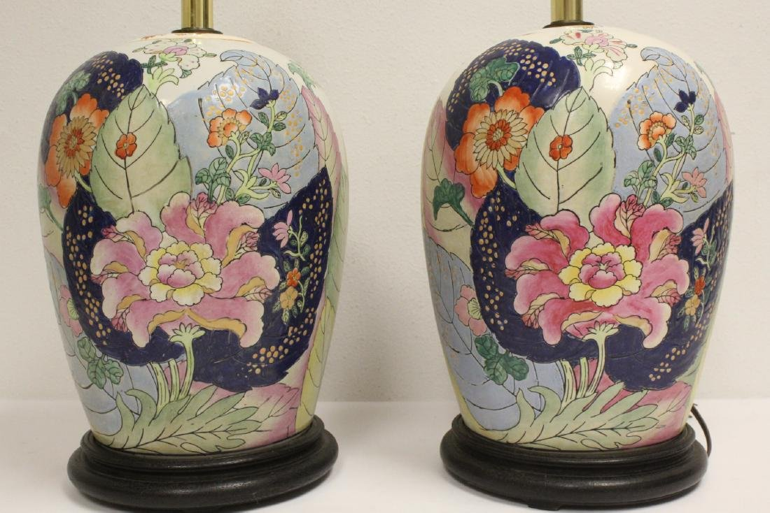 Pair Chinese vintage porcelain jars made as lamps - 4
