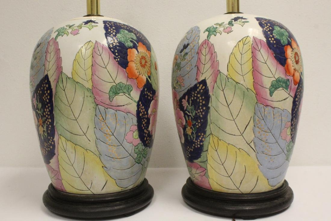 Pair Chinese vintage porcelain jars made as lamps - 5