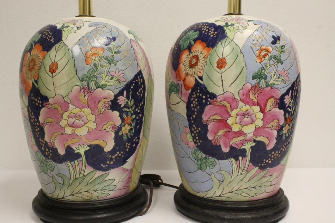 Pair Chinese vintage porcelain jars made as lamps - 6