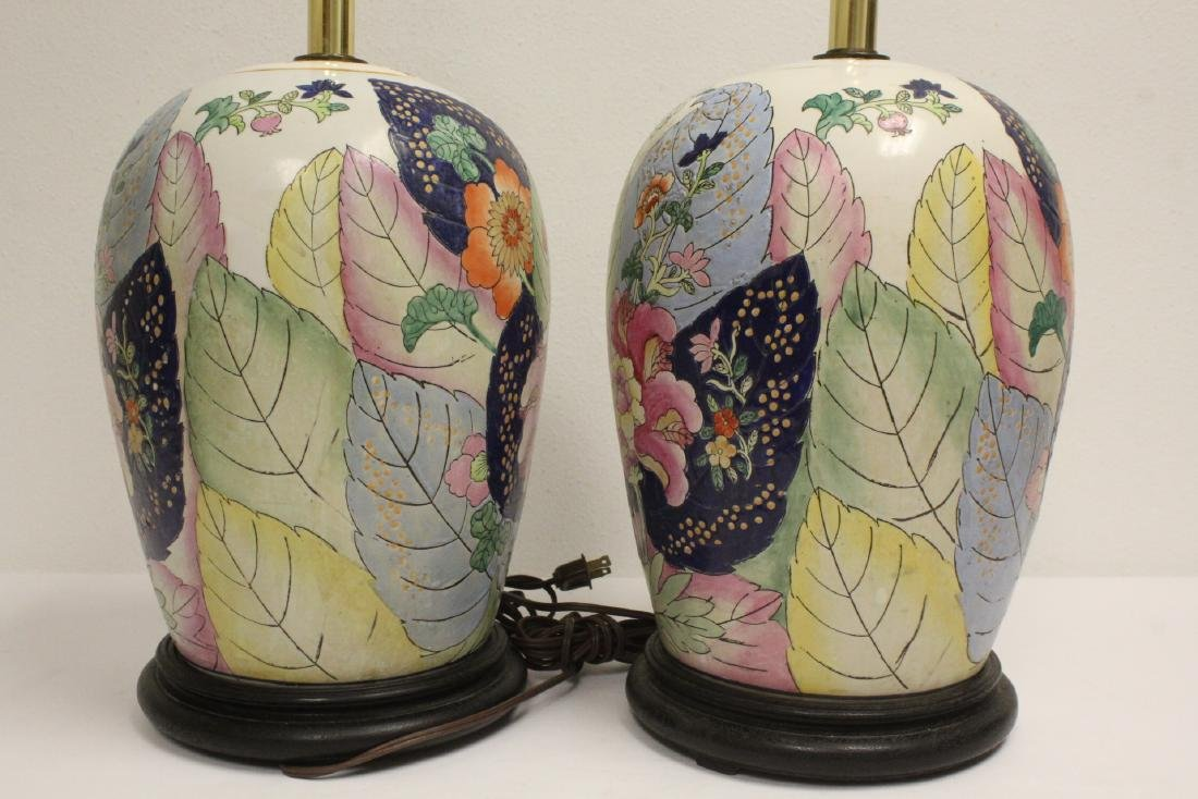 Pair Chinese vintage porcelain jars made as lamps - 7