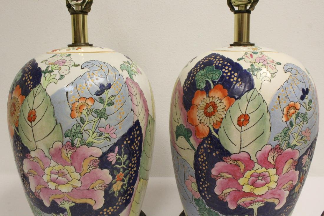 Pair Chinese vintage porcelain jars made as lamps - 8