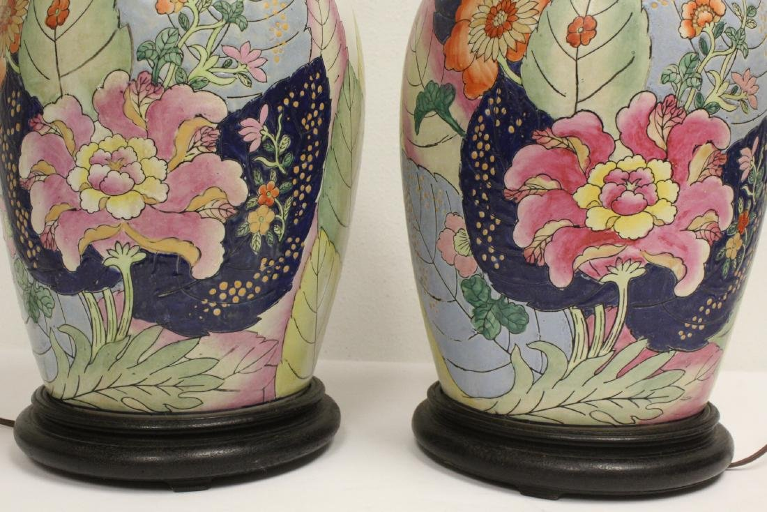 Pair Chinese vintage porcelain jars made as lamps - 9