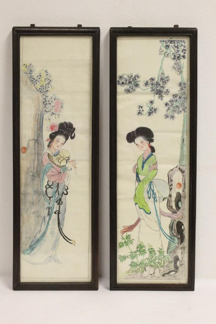 Pair Chinese rosewood frame watercolor