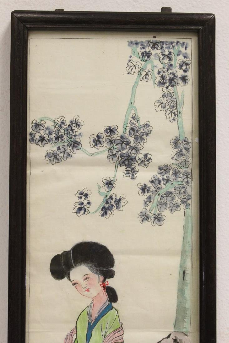 Pair Chinese rosewood frame watercolor - 3