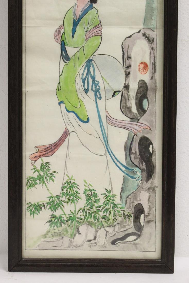 Pair Chinese rosewood frame watercolor - 4