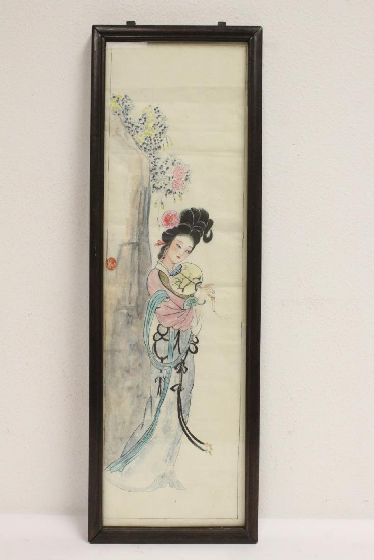 Pair Chinese rosewood frame watercolor - 6