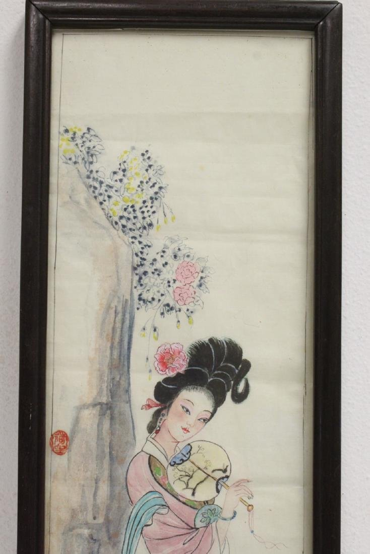 Pair Chinese rosewood frame watercolor - 7