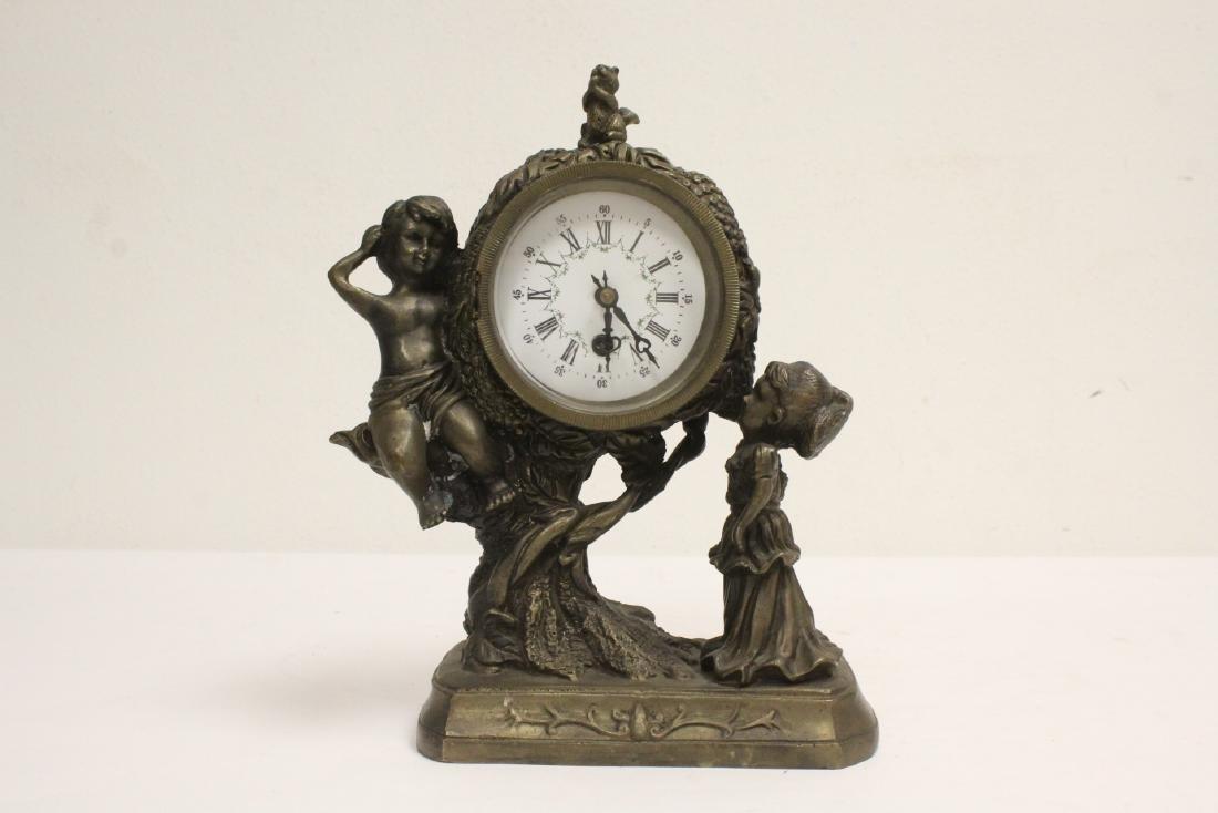 Bronze clock with cherub