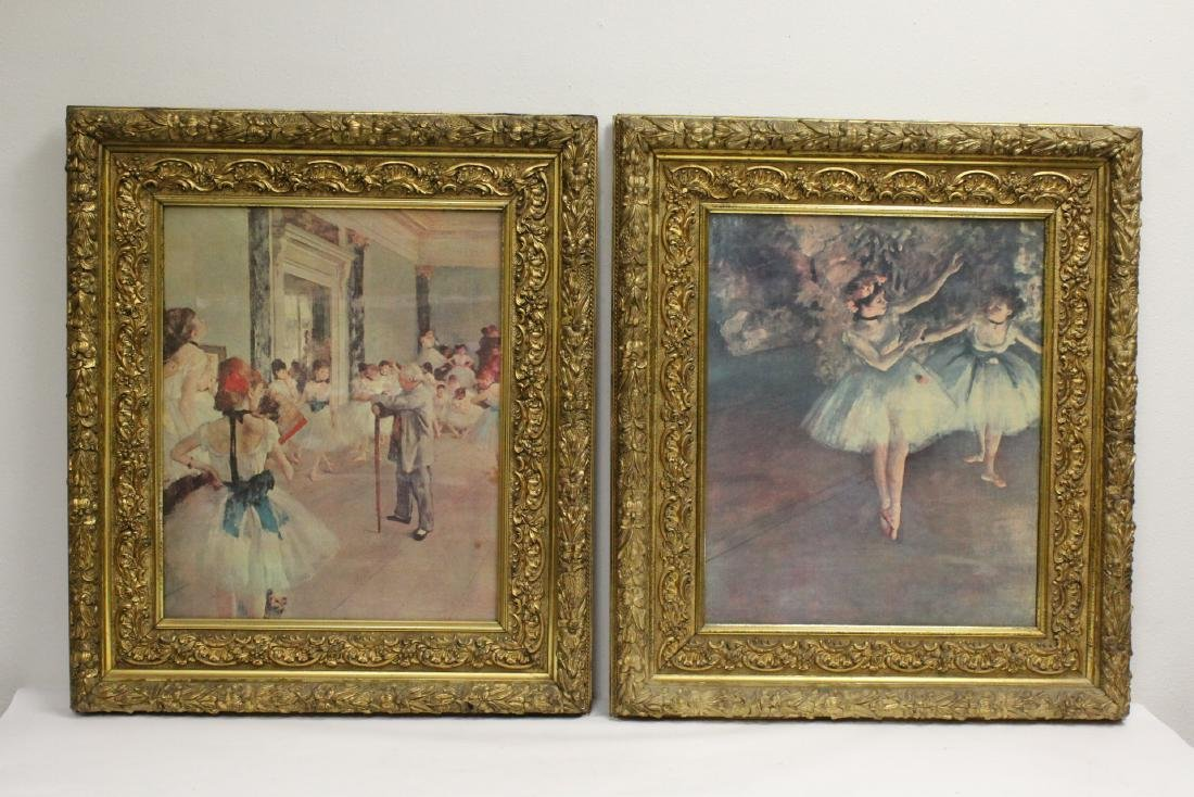 2 vintage prints in beautiful antique gilt frame
