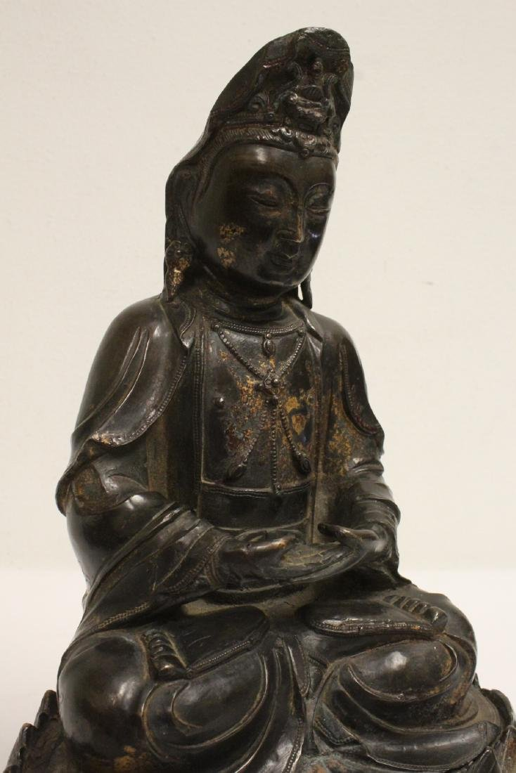 Chinese bronze sculpture of Guanyin on bronze stand - 10