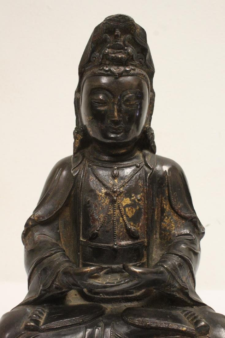Chinese bronze sculpture of Guanyin on bronze stand - 6