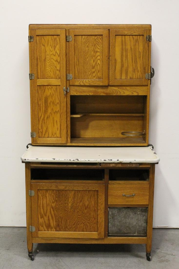 Victorian oak Hoosier, missing drawers