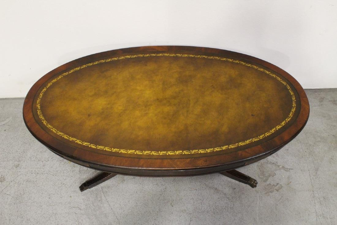 Victorian leather top mahogany coffee table - 2