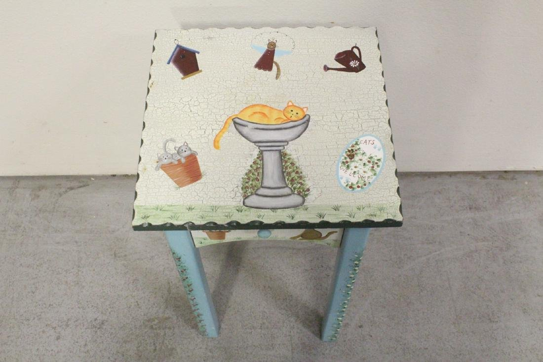 A painted lamp table by Kathy Hatch collection - 3