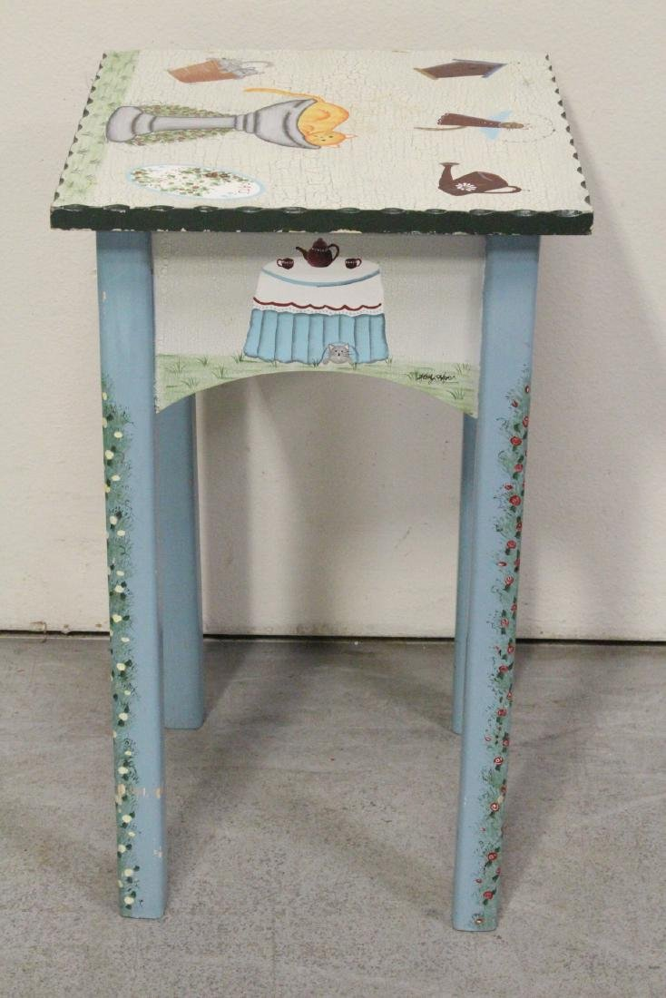 A painted lamp table by Kathy Hatch collection - 5