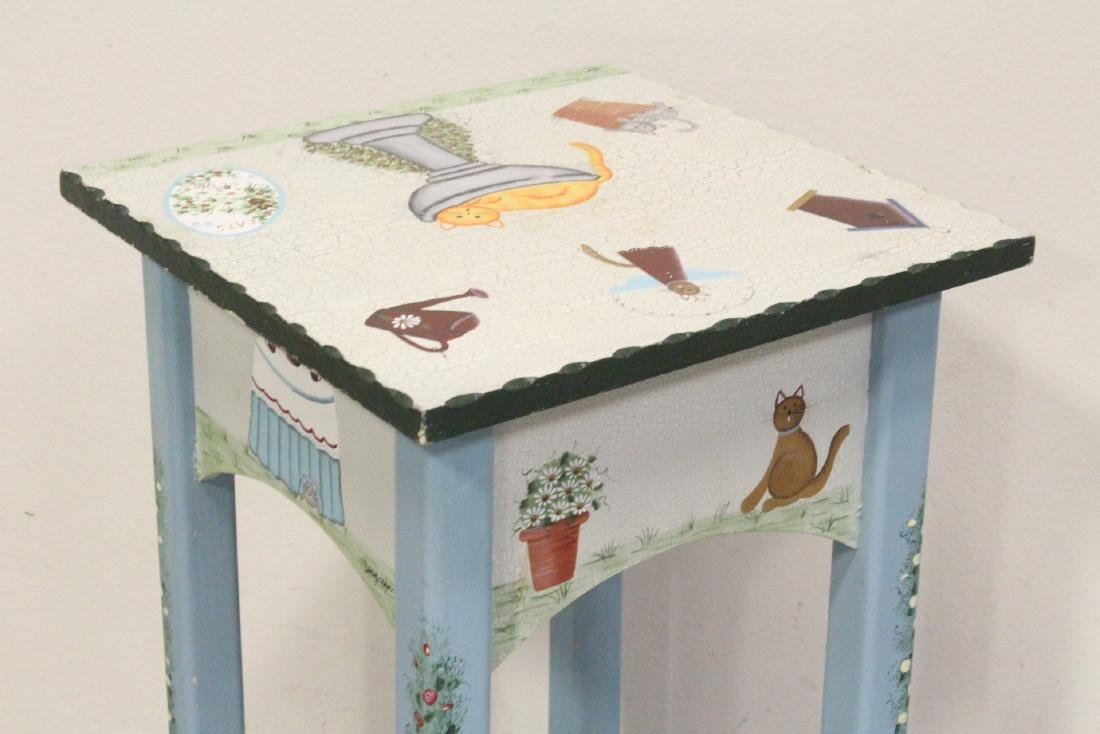 A painted lamp table by Kathy Hatch collection - 7