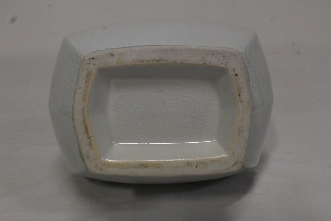 Chinese light celadon square vase - 10