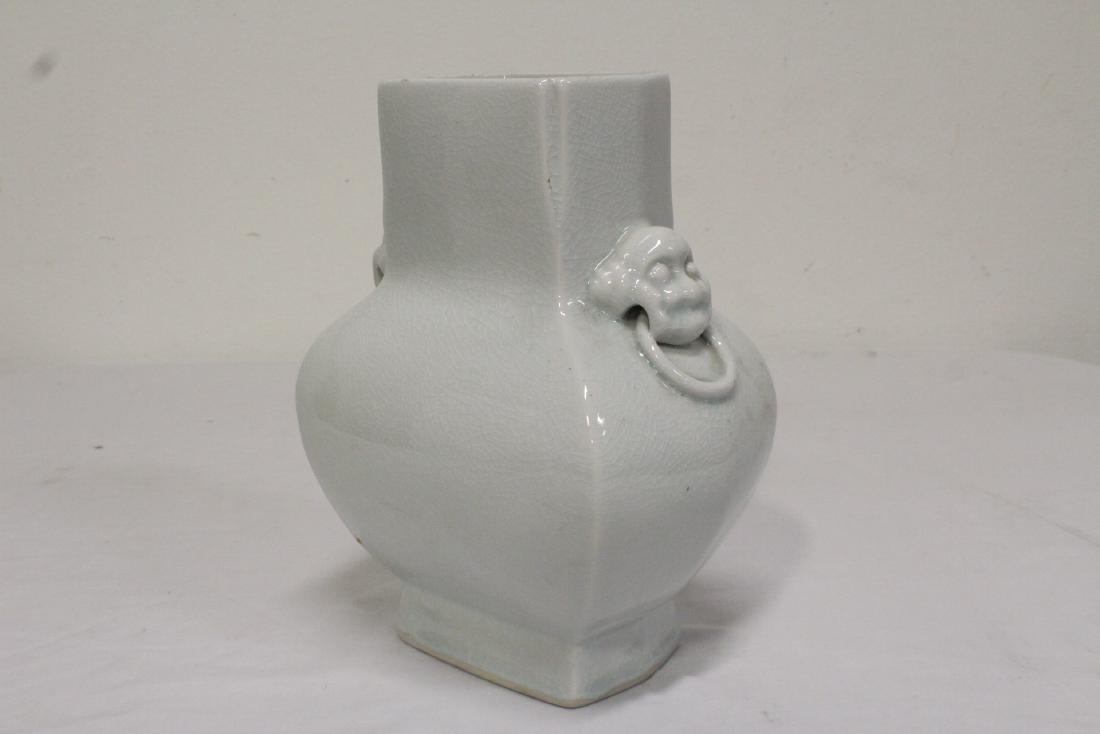 Chinese light celadon square vase - 3