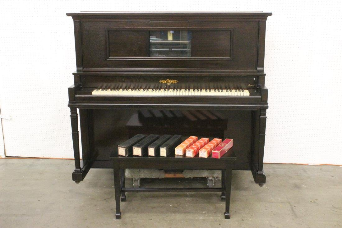 Victorian mahogany cased player piano by Chickering