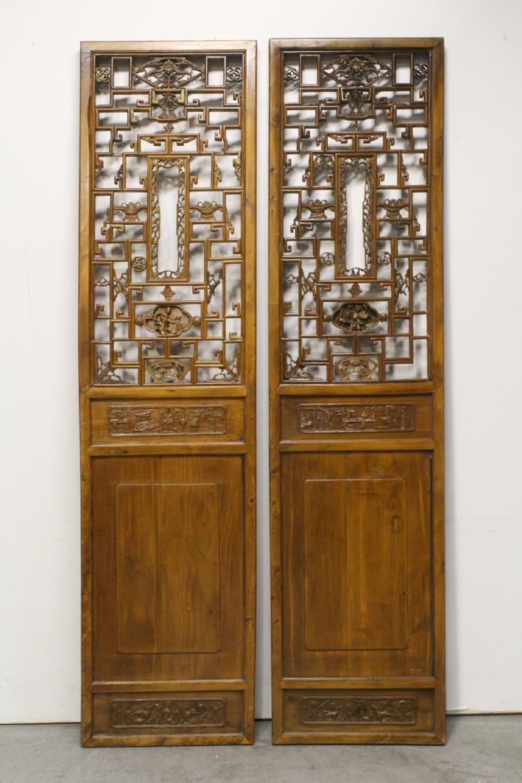 Pair massive Chinese 18th c. carved door panels