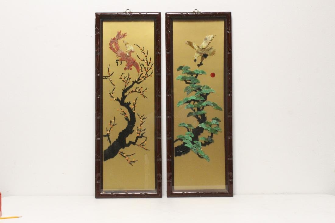 Pair panel of wall hangings with stone overlay