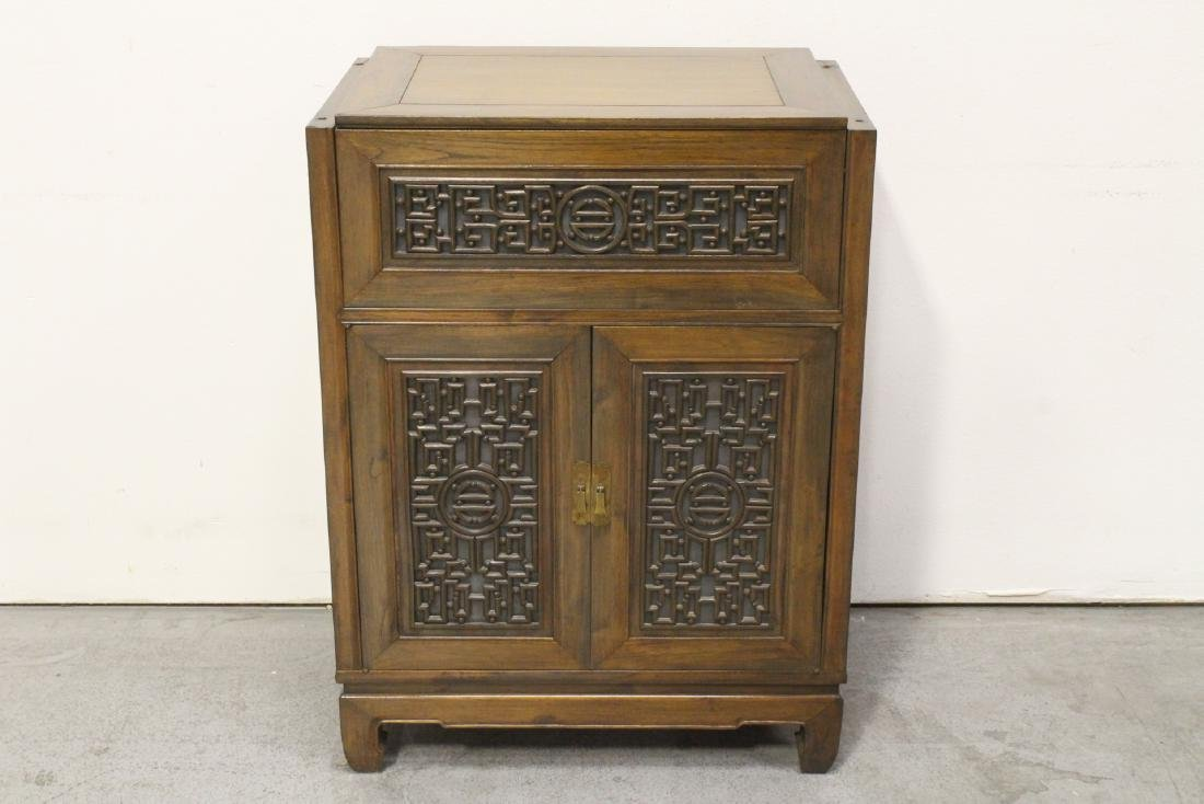 Chinese mahogany open bar with carved panels