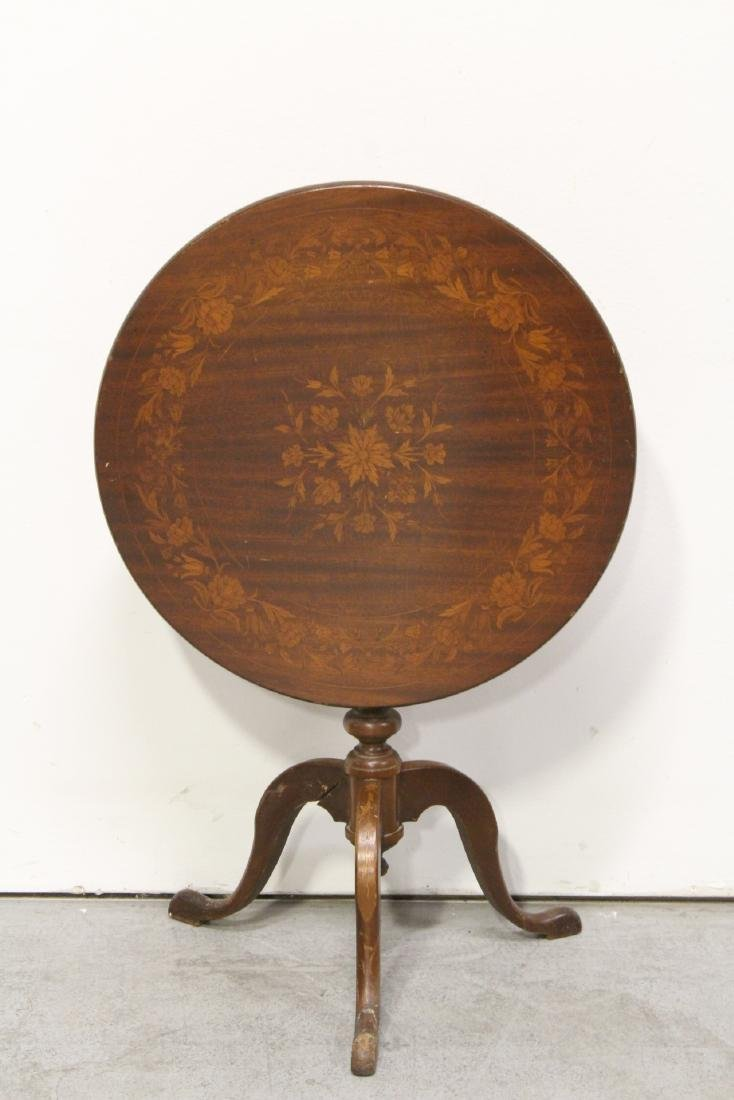19th c. Dutch mahogany marquetry tilt top tea table