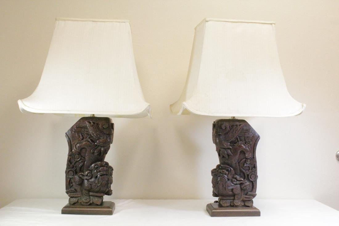 Pair Chinese vintage wood carved lamps