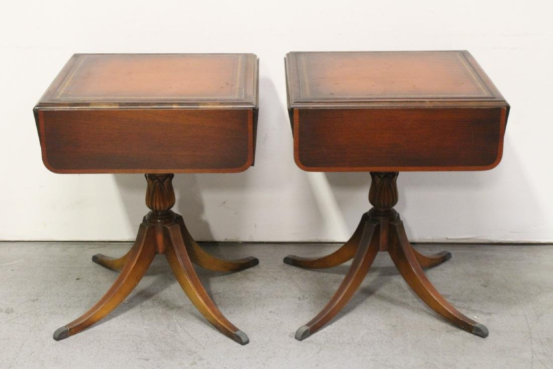 Pair mahogany drop-leaf side tables