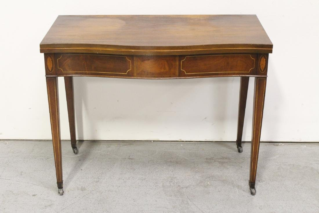 antique mahogany inlaid game table