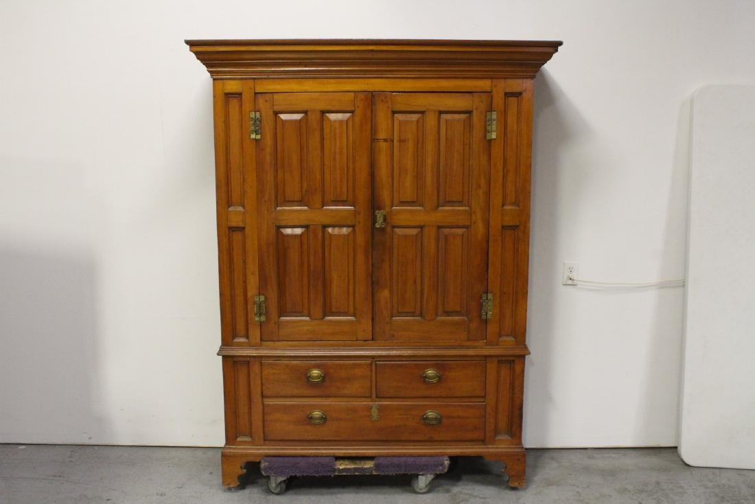 important early American cherry wood linen press