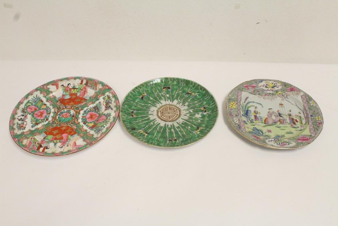 3 antique porcelain plates