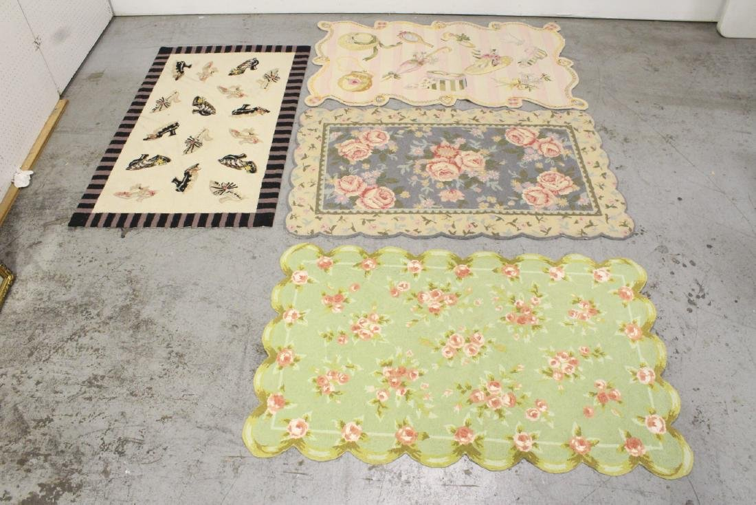 4 partial silk hook rugs