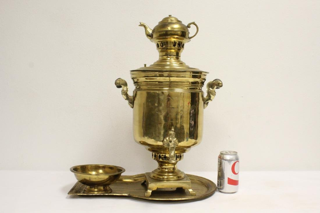 Unusual Russian samovar with tray and bowl