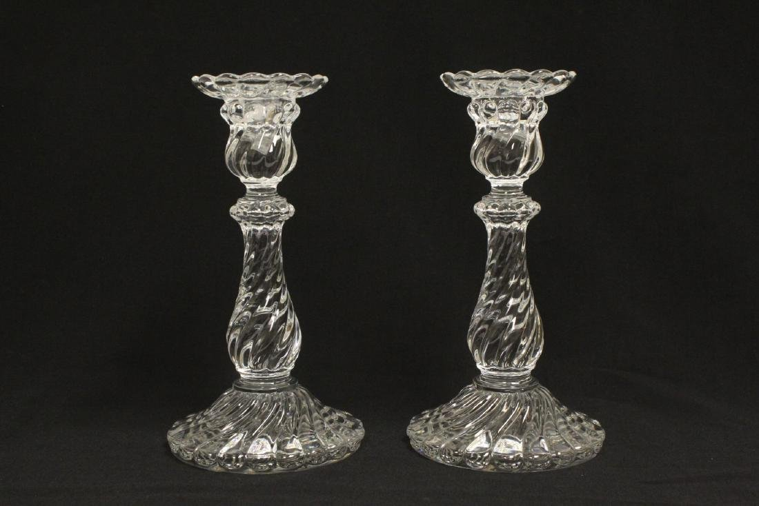 Pair Baccarat crystal candle holders