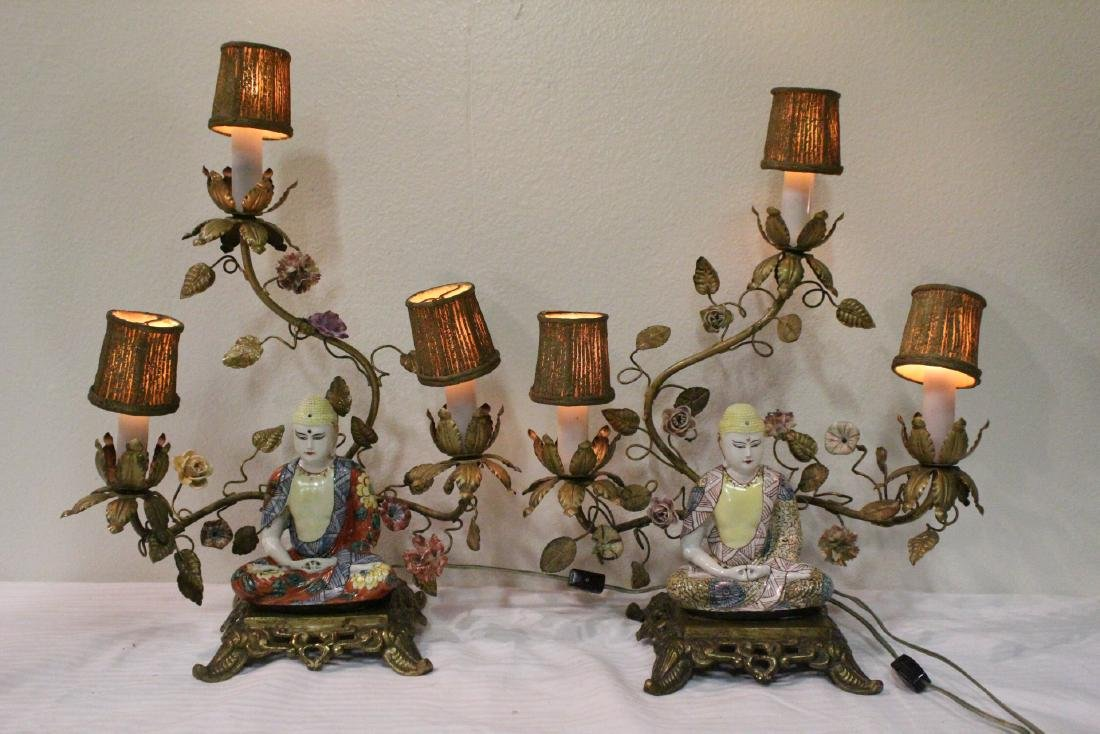 Pair antique French bronze framed lamps