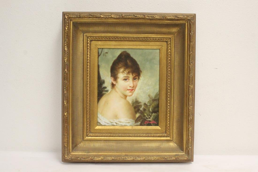 Vintage oil on canvas with beautiful gilt frame
